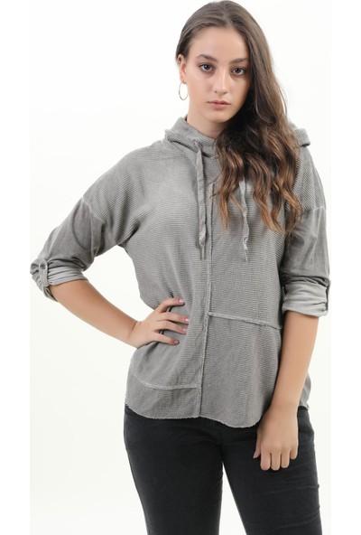 Pua Fashion Kadın Bluz Gri Kapşonlu Bluz