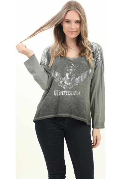 Pua Fashion Kadın Bluz Haki V Yaka Omuzu Payetli Bluz