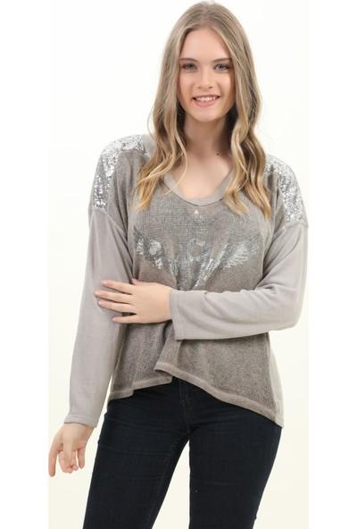 Pua Fashion Kadın Bluz Vizon V Yaka Omuzu Payetli Bluz