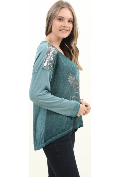 Pua Fashion Kadın Bluz Indıgo V Yaka Omuzu Payetli Bluz