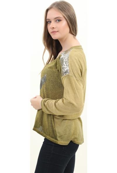 Pua Fashion Kadın Bluz F.Yeşili V Yaka Omuzu Payetli Bluz