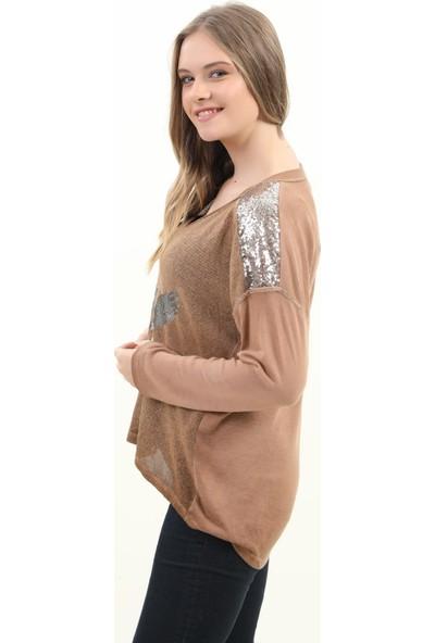 Pua Fashion Kadın Bluz Kiremit V Yaka Omuzu Payetli Bluz