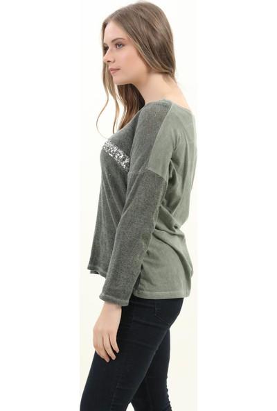 Pua Fashion Kadın Bluz Haki V Yaka Payet Bluz