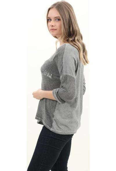 Pua Fashion Kadın Bluz Gri V Yaka Payet Bluz