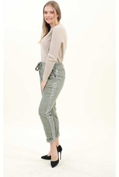 Pua Fashion Kadın Pantolon Haki Yanları Payetli Pantolon