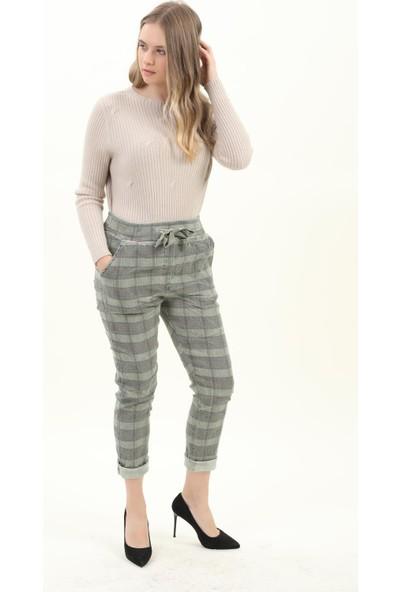 Pua Fashion Kadın Pantolon Haki Cepli Ekose Pantolon