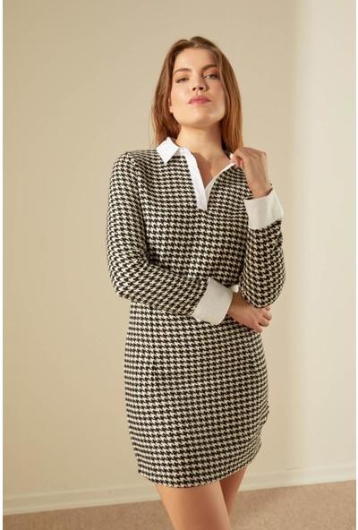 Trendmay Kadın Kaz Ayağı Detaylı Elbise 27