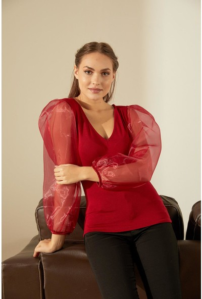 Trendmay Kadın Kolu Volanlı V Yaka Bluz 14