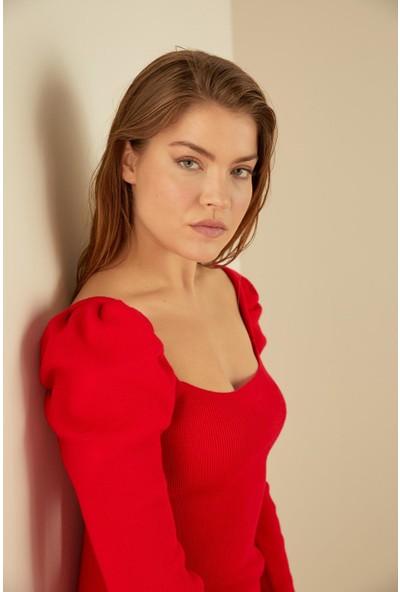 Trendmay Kadın Triko Elbise Omuz Volan 14