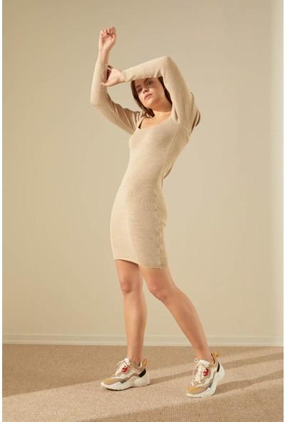 Trendmay Kadın Triko Elbise Omuz Volan 13