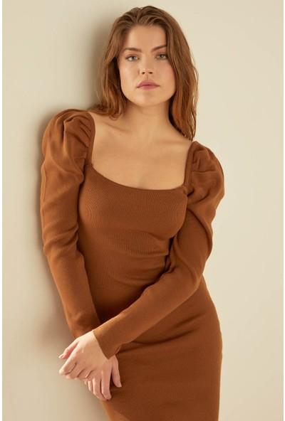 Trendmay Kadın Triko Elbise Omuz Volan 005