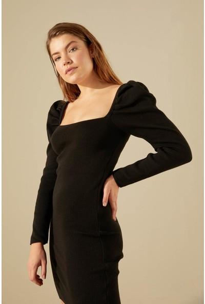 Trendmay Kadın Triko Elbise Omuz Volan 001