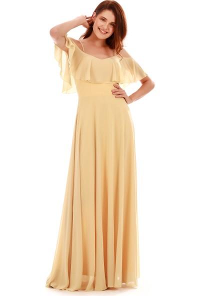 Carmen Sarı Düşük Kollu Askılı Uzun Abiye Elbise