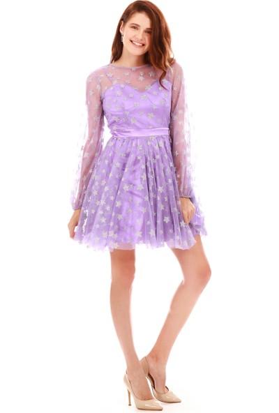 6ixty8ight Lila Tüllü Yıldızlı Kısa Abiye Elbise