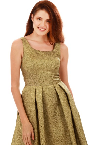 Carmen Gold Simli Cepli Kısa Abiye Elbise