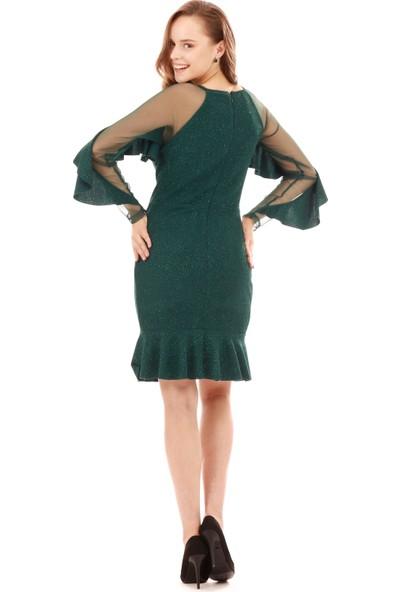Carmen Zümrüt Simli Kolları Volanlı Kısa Abiye Elbise
