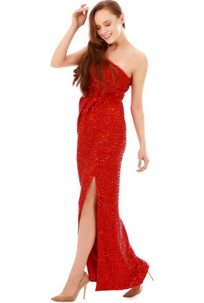 6ixty8ight Kırmızı Payetli Desenli Tek Omuz Uzun Abiye Elbise