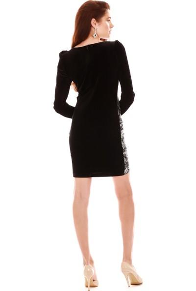 6ixty8ight Gümüş Kadife Uzun Kollu Abiye Elbise