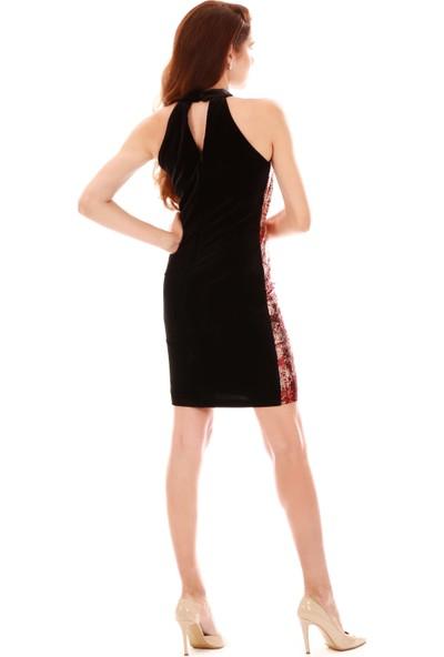 Carmen Kırmızı Kadife Payetli Jakarlı Kısa Abiye Elbise