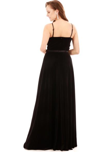 Carmen Siyah Kadife Beli Saten Askılı Uzun Abiye Elbise