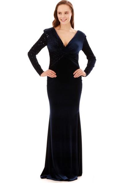 Carmen Lacivert Kadife Uzun Kollu Abiye Elbise