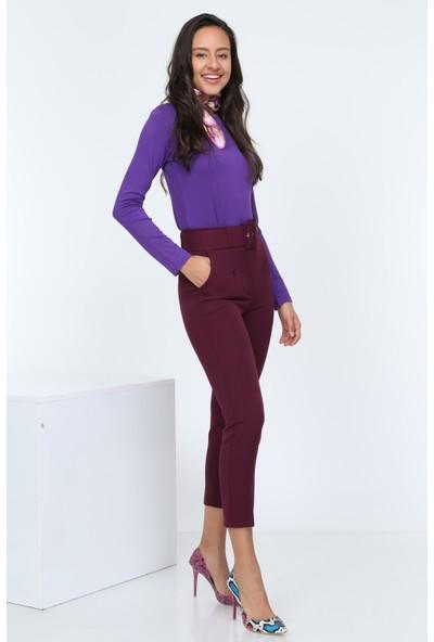 Diyar Tekstil Kemerli Yüksel Bel Bordo Bayan Kumaş Pantalon