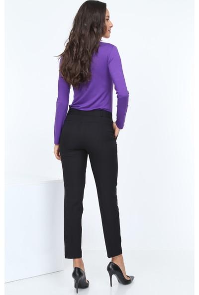 Diyar Tekstil Cepli Bilek Boy Siyah Bayan Pantalon