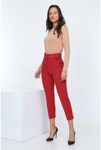 Diyar Tekstil Kemerli Yüksel Bel Kırmızı Bayan Kumaş Pantalon