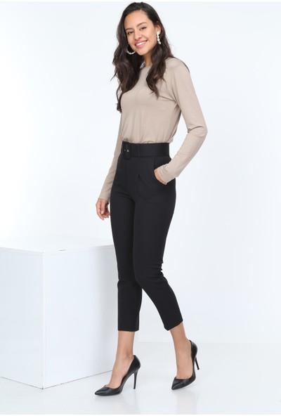 Diyar Tekstil Kemerli Yüksel Bel Siyah Bayan Kumaş Pantalon