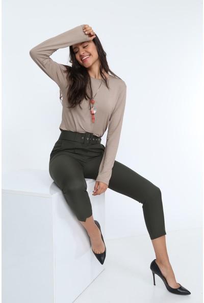 Diyar Tekstil Kemerli Yüksel Bel Haki Bayan Kumaş Pantalon