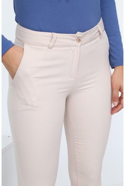 Diyar Tekstil Cepli Bilek Boy Ekru Bayan Pantalon