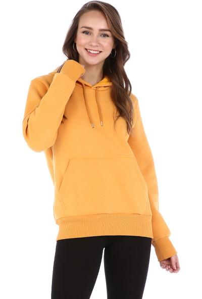 Dema Kadın Hardal Kapuşonlu Kanguru Cep Sweatshirt