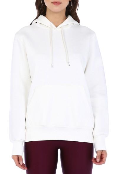 Dema Kadın Beyaz Kapuşonlu Kanguru Cep Sweatshirt