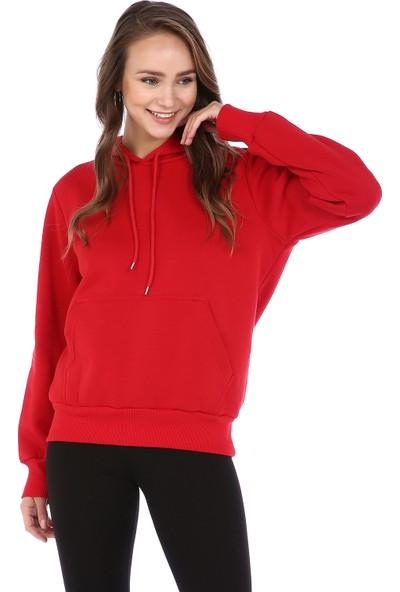 Dema Kadın Bordo Kapuşonlu Kanguru Cep Sweatshirt