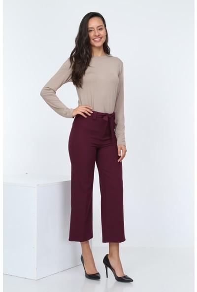 Diyar Tekstil Beli Kuşalık Bol Paça Bayan Bordo Pantalon
