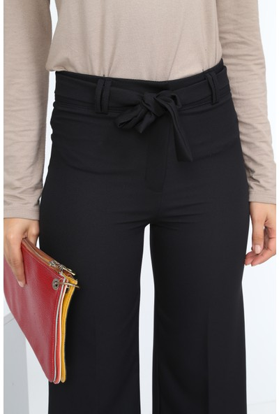 Diyar Tekstil Beli Kuşalı Bol Paça Bayan Siyah Pantalon
