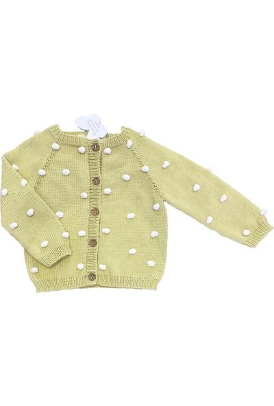 Pacco Baby Ponponlu Limon Küfü El Örgüsü Hırka