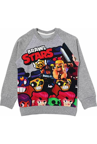 DobaKids Brawl Stars Erkek Çocuk Sweatshirt Gri