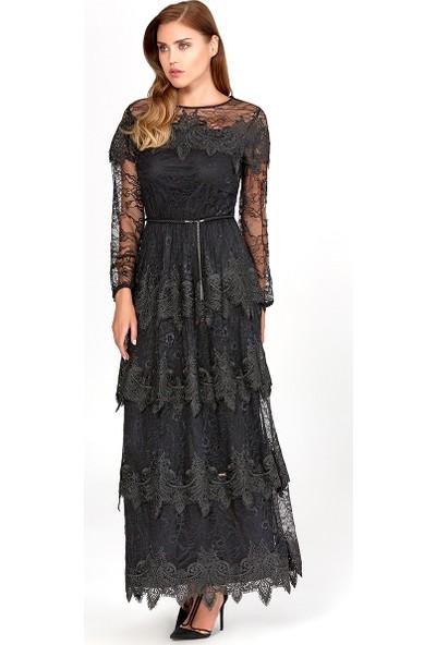 Guitar Kadın 19544 Siyah Abiye Elbise