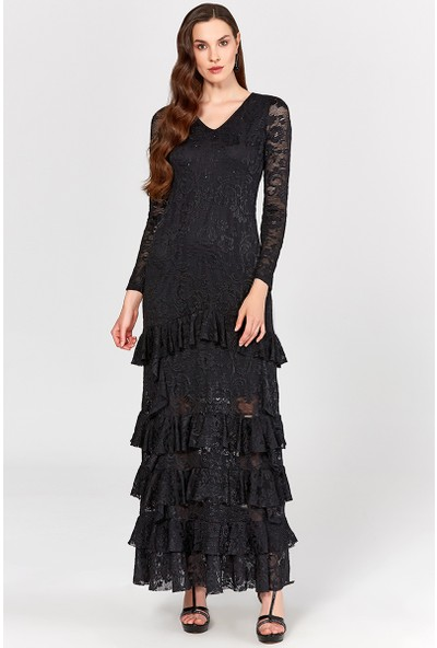 Guitar Kadın 19803 Siyah Abiye Elbise
