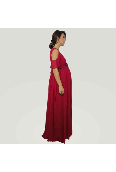 Entarim Baby Shower Hamile Elbise Fuşya 38