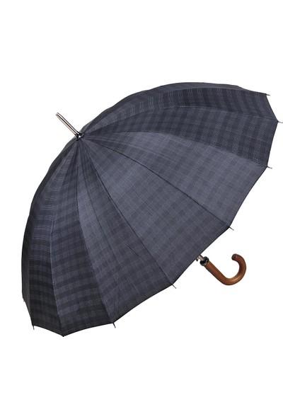 Snotline 16 Telli Desenli Baston Erkek Şemsiye Ekose Siyah 41G