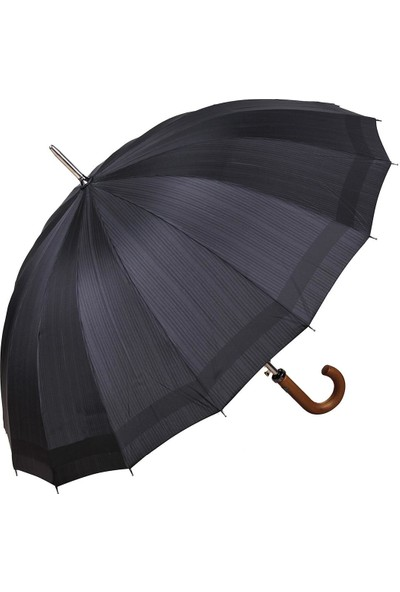 Snotline 16 Telli Desenli Baston Erkek Şemsiye Kare Cizgili Siyah 41G
