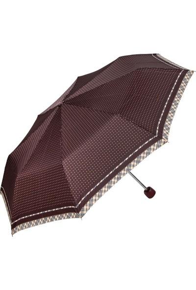 Snotline Kadın Şemsiye Süper Mini Sari Puantiyeli Kahve 08L