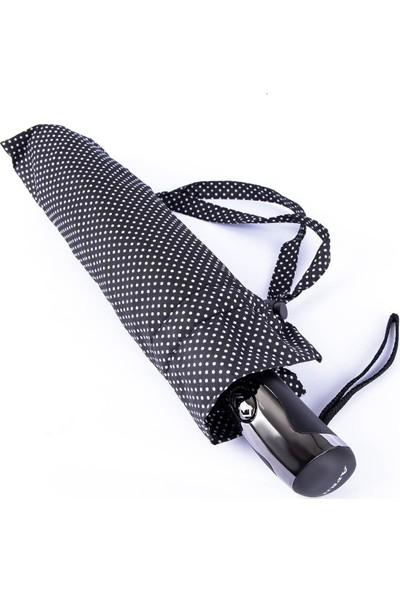 Snotline Kadın Şemsiye Mini Beyaz Puantiyeli Siyah 225L
