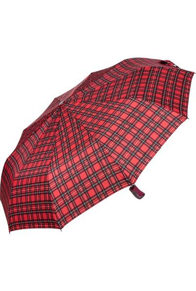 Snotline Kadın Şemsiye Mini Ekose Kırmızı 225L