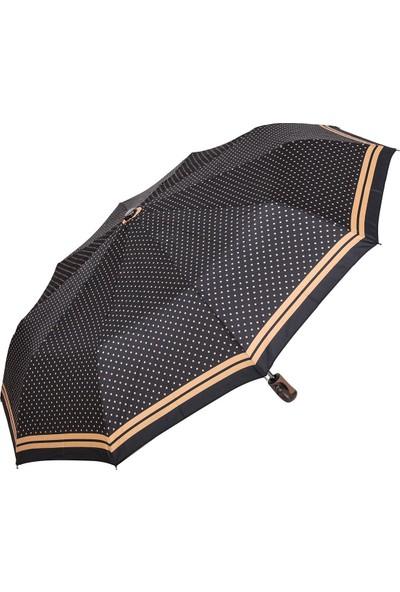 Snotline Kadın Şemsiye Mini Sarı Puantiyeli Siyah 225L