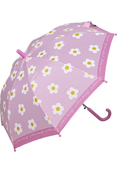 Snotline Kız Çocuk Baston Şemsiye Çiçek Desen Pembe 15J