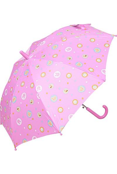 Snotline Kız Çocuk Baston Şemsiye Ayı Desen Pembe 15J