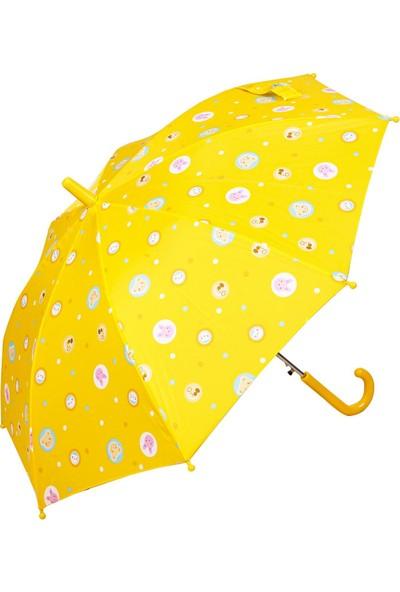 Snotline Kız Çocuk Baston Şemsiye Ayı Desen Sarı 15J